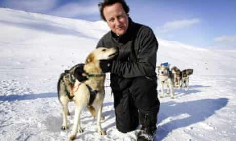 Cameron, leader of Britain's Conservative Party stands on top of Scott-Turner glacier on Svalbard