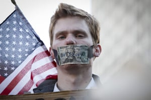 Wall Street Protests: A protestor during the Occupy Wall Street March