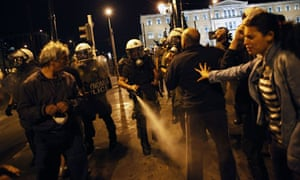 Greek protesters clash with riot police in Syntagma Square