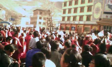Monks and civilians march in China's Gansu province