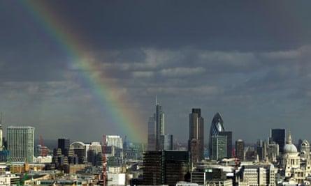 Rainbow over City of London