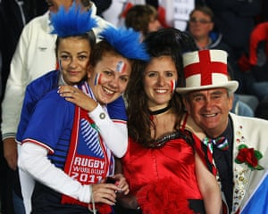 England v France: England and France fans before the Rugby World Cup quarter-final