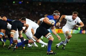 England v France: Imanol Harinordoquy breaks with the ball