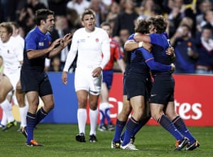 England v France: France's Maxime Medard celebrates with teammates after scoring a try
