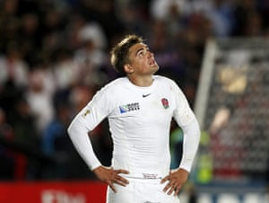 England v France: England's Toby Flood reacts after losing the Rugby World Cup quarter-final