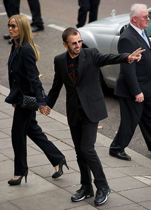 paul mccartney wedding: Ringo Starr arrives with his wife Barbara Bach