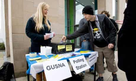 Glasgow University SNP students carrying out a mock independence referendum