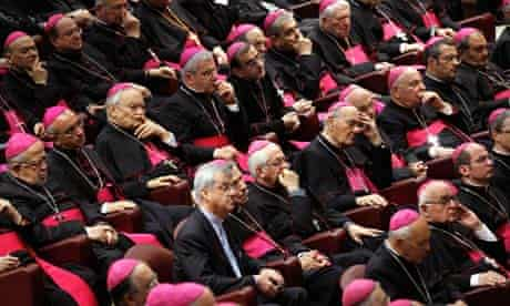 Bishops listening to Pope Benedict XVI at the Vatican