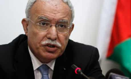 The Palestinian foreign minister, Riad al-Malki