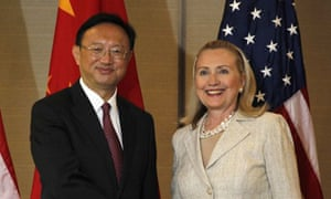 Hillary Clinton with the Chinese foreign minister, Yang Jiechi, at the Apec summit
