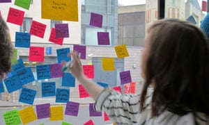 Sticking Post-It notes on the window
