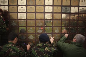 Armistice day: Soldiers clean the Basra Wall ahead of Armistice Day, Staffordshire