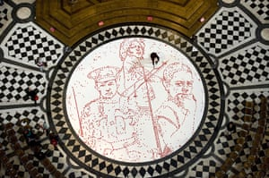 Armistice day: Installation of poppies in honour of children in war, St Paul's Cathedral