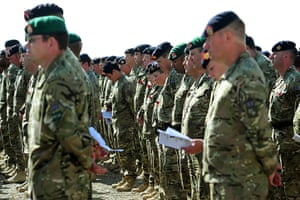 Armistice day update: Troops observe the minutes silence at Camp Bastion in Afghanistan