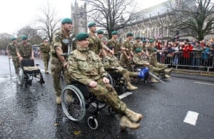 Armistice day update: Injured and wounded Royal Marines march through Plymouth city centre