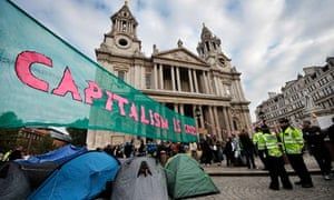 Protesters camped at St Paul's Cathedral