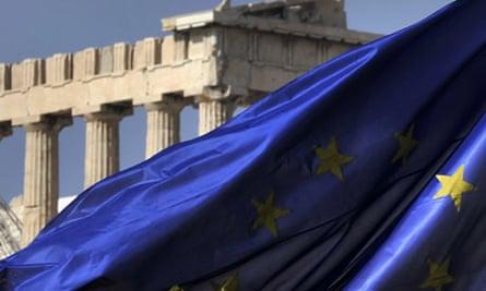 EU flag flying in Athens