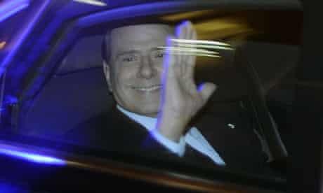 Silvio Berlusconi leaves Palazzo Grazioli