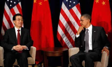 Barack Obama and Hu Jintao in Hawaii
