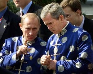 APEC Summit: 21 October 2001: Vladimir Putin chats with George Bush