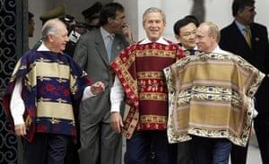 APEC Summit: 21 November 2004: George Bush, wearing a traditional Chilean poncho