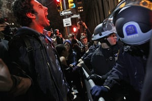 occupy wall street: protester confronts police