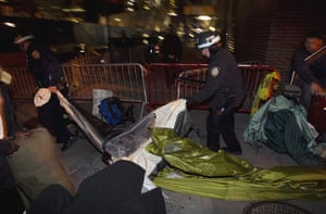 occupy wall street: NYPD officers remove members of the movement from Zuccotti Park in New York