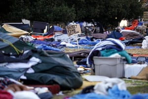 Occupy protest evictions: Oakland, US: The empty campsite following the eviction