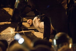 Occupy protest evictions: Portland, US: A man is arrested at Occupy Portland