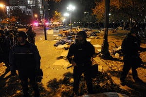 Occupy protest evictions: Denver, US: Police at Civic Center Park
