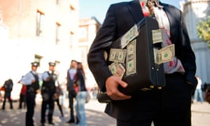 A man dressed as a banker outside Saint Paul's Cathedral, as part of the Occupy London movement