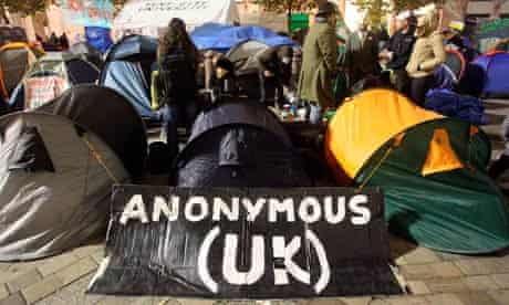 An Anonymous sign at the Occupy London camp at St Paul's Cathedral