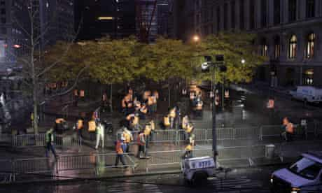 Zuccotti Park was raided by the police and cleaned out by the sanitation department