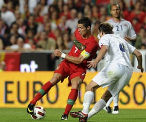 Euro 2012 qualifiers: Portugal's forward Cristiano Ronaldo controls the ball against Norway