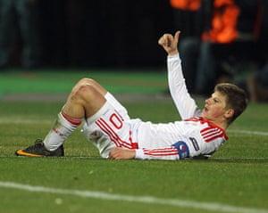Euro 2012 qualifiers: Russia's Andrey Arshavin gestures