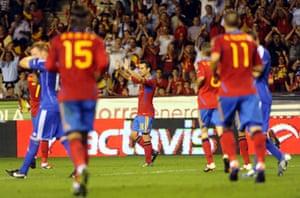 Euro 2012 qualifiers: Spain's Xavi Hernandez celebrates after scoring against Liechtenstein
