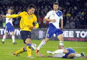 Euro 2012 qualifiers: Sweden's Zlatan Ibrahimovic controls the ball