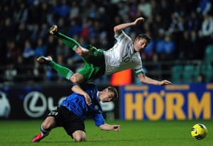 Euro 2012 qualifiers: Estonia's Andrei Stepanov is sent off for the tackle on Eire's Robbie Keane
