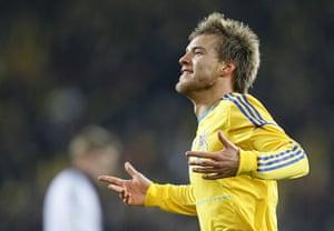 Euro 2012 qualifiers: Ukraine's Andriy Yarmolenko celebrates scoring against Germany