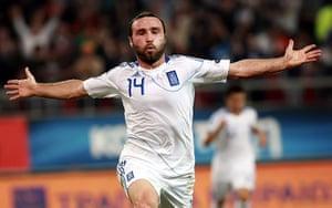 Euro 2012 qualifiers: Greece's Dimitris Salpingidis celebrates after scoring against Israel