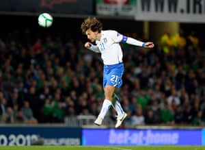 Euro 2012 qualifiers: Andrea Pirlo of Italy heads the ball