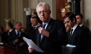 Italy's Prime Minister designate Mario Monti