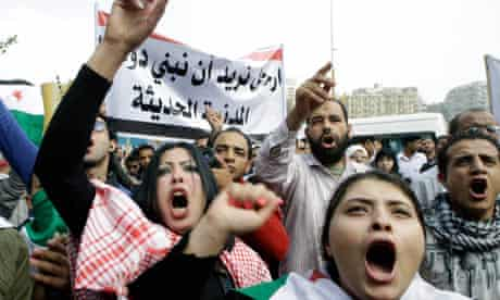 Syrian protesters shout anti-regime slogans