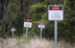 From the agencies: Warnign signs of an underground gas pipeline near Dalby