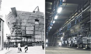 A ship being built at Swan Hunter, 1968; the abandoned MG Rover plant at Longbridge, 2005.