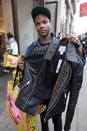 Versace for H&M: Caesar Obialor shows his leather jacket from the Versace for H&M collection