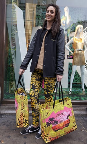 Versace for H&M: Crystal Apollonia with her Versace for H&M purchases