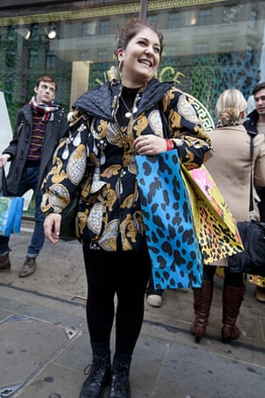 Versace for H&M: Leyla Tahir outside Versace for H&M