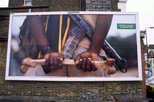 Benetton adverts: A Benetton advert featuring guerilla with human bone, 1992