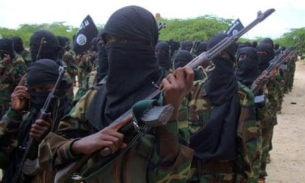 Al-Shabaab Islamist rebel group train near the Somali capital of Mogadishu
